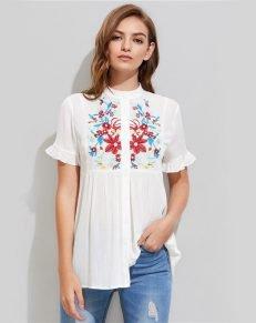 Embroidery Crinkle White Blouse - MillennialShoppe.com